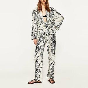 NWT Zara Leaf Print Flowing Wide Leg Trousers